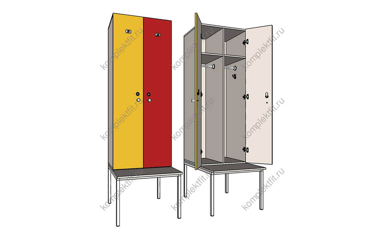 Шкафы Дуэт на металлокаркасе со скамейкой
