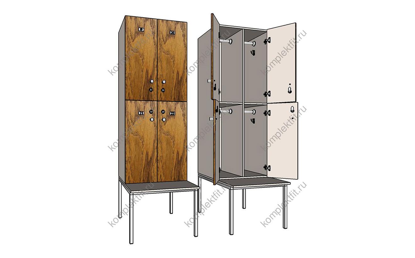 Шкафы Квартет на металлокаркасе со скамейкой