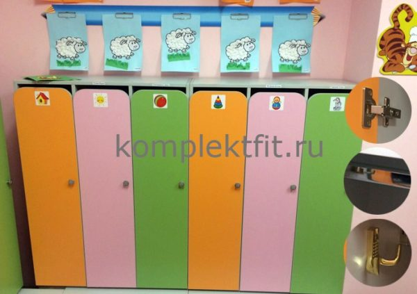 Шкаф для раздевалки детские с лавкой трехсекционный