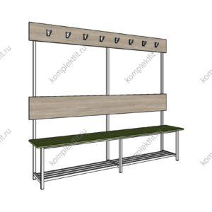 Высокая скамейка одинарная с обувницей - 1800х400х1000 (ВхГхШ)