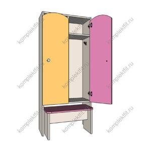Шкаф для раздевалок детский с приставной лавкой 1 секция