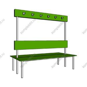 Высокая скамейка двойная базовая для раздевалок - 1800х800х1000 (ВхГхШ)