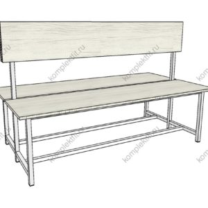 Скамейка двойная стандартная для раздевалок - 950х800х1000 (ВхГхШ)