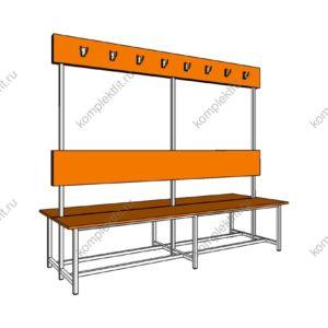 Высокая скамейка для раздевалок двойная стандартная - 1800х800х1000 (ВхГхШ)