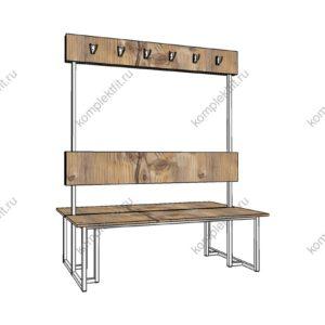 Высокая скамейка для раздевалок двойная усиленная - 1800х800х1000 (ВхГхШ)