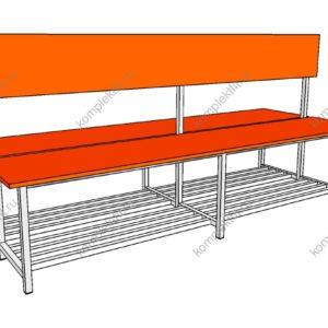 Скамейка для раздевалок двойная с обувницей - 950х800х1000 (ВхГхШ)