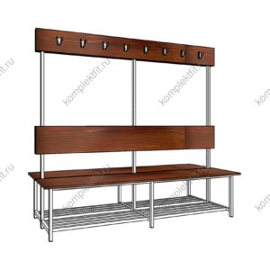 Высокая скамейка для раздевалок двойная с обувницей - 1800х800х1000 (ВхГхШ)